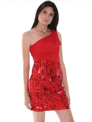 CE1193 One Shoulder Chiffon Sequin Party Dress, Red