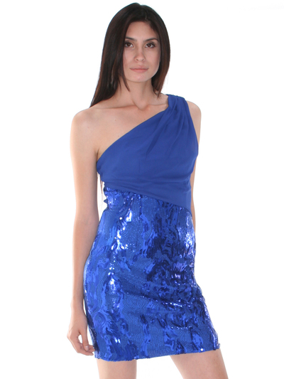 CE1193 One Shoulder Chiffon Sequin Party Dress - Royal Blue, Front View Medium