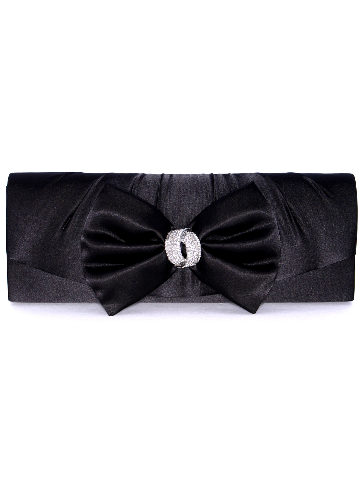 HBG92027 Black Satin Evening Bag with Bow - Front Image