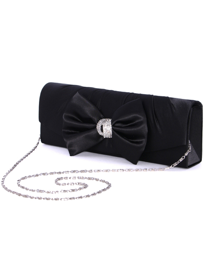 HBG92027 Black Satin Evening Bag with Bow - Black, Alt View Medium