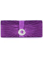 HBG92426 Purple Evening Bag with Rhinestone Decor - Purple, Front View Thumbnail