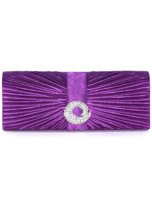 HBG92426 Purple Evening Bag with Rhinestone Decor, Purple