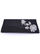 Black Satin Evening Bag with Rhinestone Floral