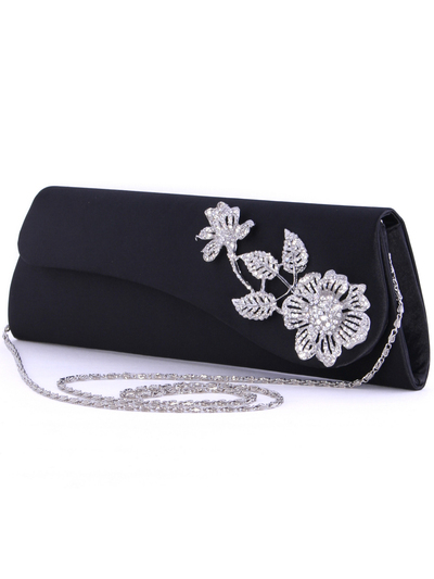 HBG92467 Black Satin Evening Bag with Rhinestone Floral - Black, Alt View Medium