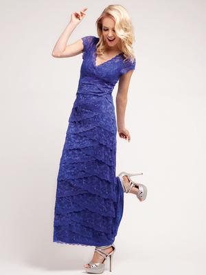 J8001 Lace and Layers Evening Dress, Royal