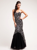 Black and Sequin Formal Evening Mermaid Gown