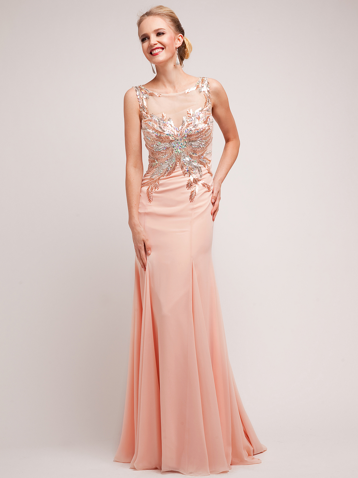 Blush Foil Leaf Fabulous Evening Dress Sung Boutique L A