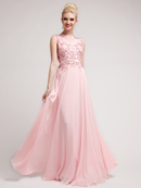 Baby Pink Prom Perfection Illusion Neckline Prom Dress