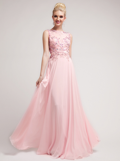 JC3196 Baby Pink Prom Perfection Illusion Neckline Prom Dress - Baby Pink, Front View Medium