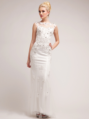 JC3202W Off White Illusion Yoke Embroidered Mesh Gown, Off White