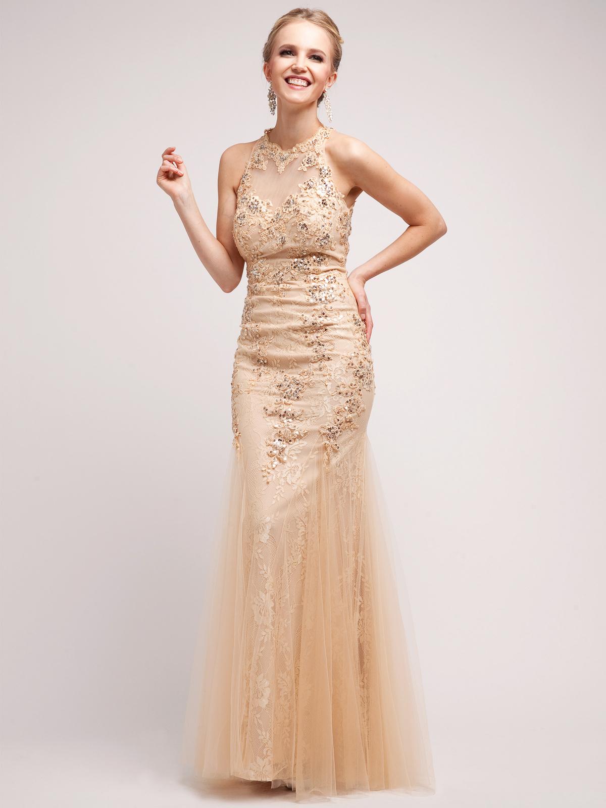 Vintage-Inspired Gold Halter Evening Dress  Sung Boutique L.A.