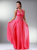 Watermelon Lace & Embroidery Top Prom Dress