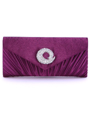 JX3703 Purple Satin Evening Bag with Rhinestone Buckle - Purple, Front View Thumbnail
