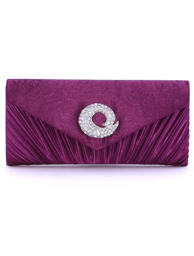 JX3703 Purple Satin Evening Bag with Rhinestone Buckle - Purple, Front View Medium