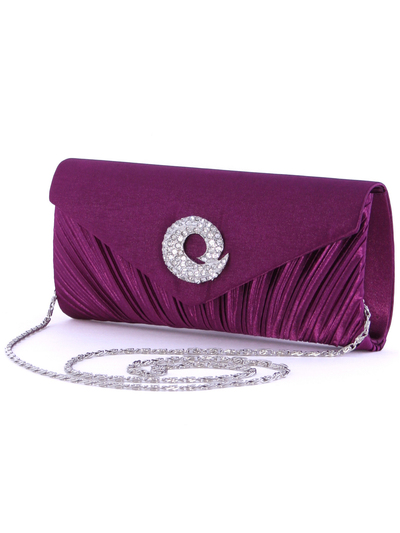 JX3703 Purple Satin Evening Bag with Rhinestone Buckle - Purple, Alt View Medium