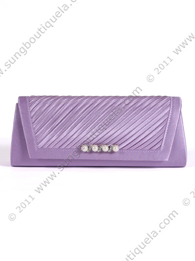 JX7008 Purple Satin Evening Bag - Purple, Front View Medium