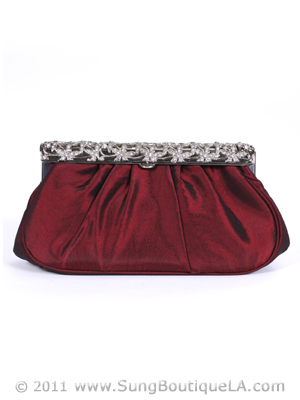 M40007 Wine Satin Evening Bag with Rhinestone Frame, Wine