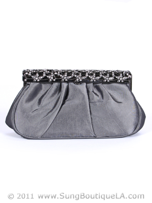 M40007 Pewter Satin Evening Bag with Rhinestone Frame, Pewter