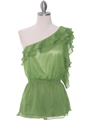 TP127 Green One Shoulder Top - Green, Front View Thumbnail