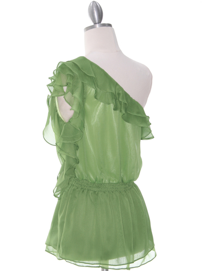 TP127 Green One Shoulder Top - Green, Back View Medium