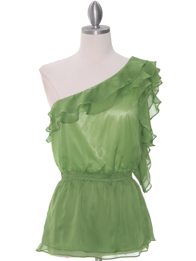 TP127 Green One Shoulder Top - Green, Front View Medium