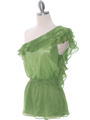 TP127 Green One Shoulder Top - Green, Alt View Thumbnail