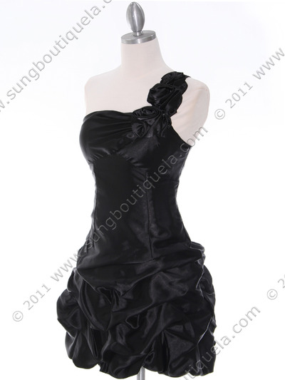U709 Black One Shoulder Cocktail Dress - Black, Alt View Medium